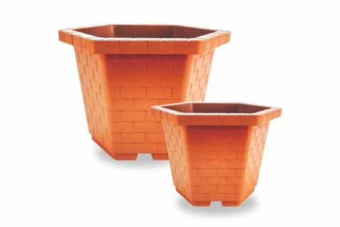 【Aiermei Outdoor Series】ANG-123 Hexagonal Pot in Brick Pattern